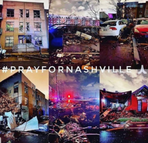 6 images of Nashville after a recent tornado with the words #PRAYFORNASHVILLE across them