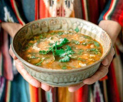 Farrell holding Ribollita Soup.